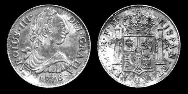 270008f39 Moneda de 8 reales de plata con el rostro del rey Carlos III. 1776. Con el  dinero enviado desde España, los famosos Spanish dollars, se consiguió  avalar la ...